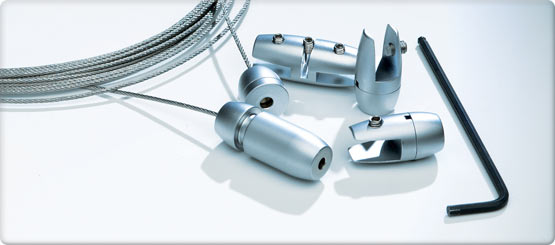 A complete modular wire hanging sysytem with an attractive satin chrome finish